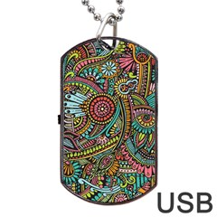 Colorful Hippie Flowers Pattern, Zz0103 Dog Tag Usb Flash (one Side) by Zandiepants