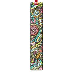 Colorful Hippie Flowers Pattern, Zz0103 Large Book Mark by Zandiepants