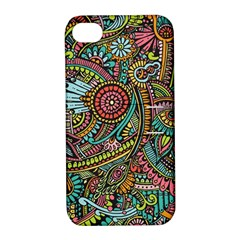Colorful Hippie Flowers Pattern, Zz0103 Apple Iphone 4/4s Hardshell Case With Stand by Zandiepants