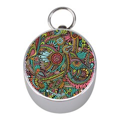 Colorful Hippie Flowers Pattern, Zz0103 Silver Compass (mini) by Zandiepants
