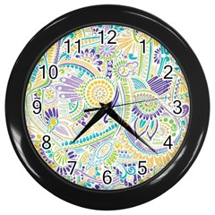 Purple, Green, Yellow Hippie Flowers Pattern, Zz0104 Wall Clock (black)