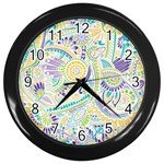 Purple, Green, Yellow Hippie Flowers Pattern, zz0104 Wall Clock (Black) Front