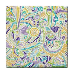Purple, Green, Yellow Hippie Flowers Pattern, Zz0104 Face Towel by Zandiepants