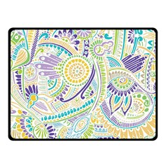 Purple, Green, Yellow Hippie Flowers Pattern, Zz0104 Fleece Blanket (small) by Zandiepants