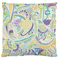Purple, Green, Yellow Hippie Flowers Pattern, Zz0104 Large Cushion Case (one Side) by Zandiepants