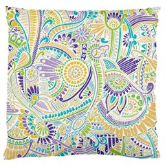 Purple, Green, Yellow Hippie Flowers Pattern, Zz0104 Large Flano Cushion Case (two Sides) by Zandiepants