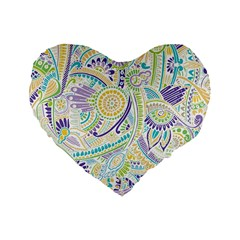 Purple, Green, Yellow Hippie Flowers Pattern, Zz0104 Standard 16  Premium Flano Heart Shape Cushion  by Zandiepants