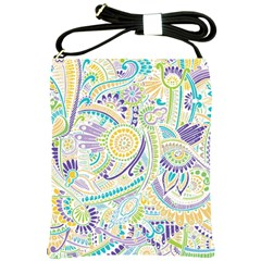 Purple, Green, Yellow Hippie Flowers Pattern, Zz0104 Shoulder Sling Bag by Zandiepants
