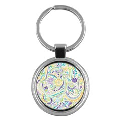Purple, Green, Yellow Hippie Flowers Pattern, Zz0104 Key Chain (round) by Zandiepants