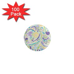 Purple, Green, Yellow Hippie Flowers Pattern, Zz0104, 1  Mini Magnet (100 Pack)  by Zandiepants