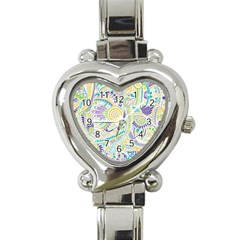 Purple, Green, Yellow Hippie Flowers Pattern, Zz0104, Heart Italian Charm Watch by Zandiepants