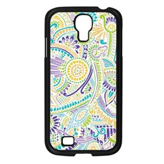 Purple, Green, Yellow Hippie Flowers Pattern, Zz0104, Samsung Galaxy S4 I9500/ I9505 Case (black) by Zandiepants