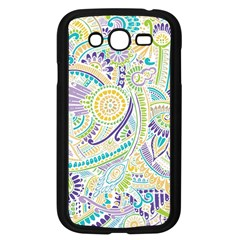 Purple, Green, Yellow Hippie Flowers Pattern, Zz0104, Samsung Galaxy Grand Duos I9082 Case (black) by Zandiepants