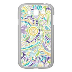 Purple, Green, Yellow Hippie Flowers Pattern, Zz0104, Samsung Galaxy Grand Duos I9082 Case (white) by Zandiepants