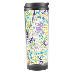 Purple, Green, Yellow Hippie Flowers Pattern, Zz0104, Travel Tumbler by Zandiepants