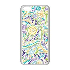 Purple, Green, Yellow Hippie Flowers Pattern, Zz0104, Apple Iphone 5c Seamless Case (white) by Zandiepants