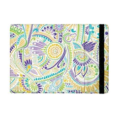 Purple, Green, Yellow Hippie Flowers Pattern, Zz0104, Apple Ipad Mini 2 Flip Case by Zandiepants