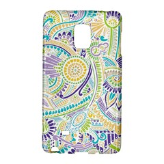 Purple, Green, Yellow Hippie Flowers Pattern, Zz0104, Samsung Galaxy Note Edge Hardshell Case by Zandiepants