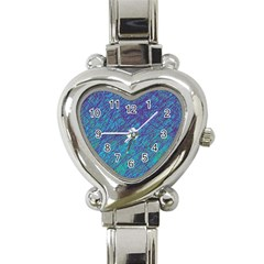 Blue Pattern Heart Italian Charm Watch by Valentinaart