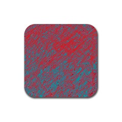 Red And Blue Pattern Rubber Coaster (square)  by Valentinaart