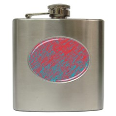 Red And Blue Pattern Hip Flask (6 Oz) by Valentinaart