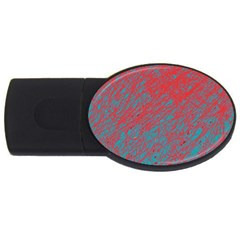 Red And Blue Pattern Usb Flash Drive Oval (2 Gb)  by Valentinaart