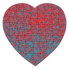 Red And Blue Pattern Jigsaw Puzzle (heart) by Valentinaart