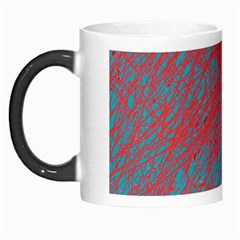 Red And Blue Pattern Morph Mugs by Valentinaart