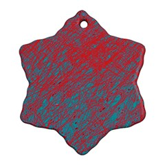 Red And Blue Pattern Snowflake Ornament (2 Side) by Valentinaart