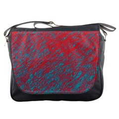 Red And Blue Pattern Messenger Bags by Valentinaart