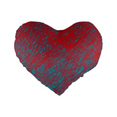 Red And Blue Pattern Standard 16  Premium Heart Shape Cushions by Valentinaart