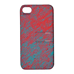 Red And Blue Pattern Apple Iphone 4/4s Hardshell Case With Stand by Valentinaart