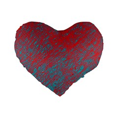 Red And Blue Pattern Standard 16  Premium Flano Heart Shape Cushions by Valentinaart
