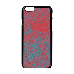 Red And Blue Pattern Apple Iphone 6/6s Black Enamel Case by Valentinaart