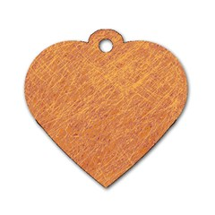 Orange Pattern Dog Tag Heart (one Side) by Valentinaart