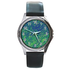 Green Pattern Round Metal Watch by Valentinaart