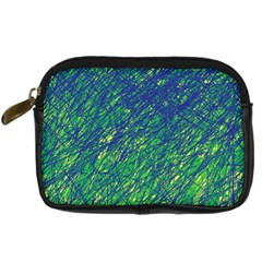 Green Pattern Digital Camera Cases by Valentinaart