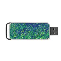 Green Pattern Portable Usb Flash (one Side) by Valentinaart