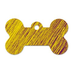 Yellow Van Gogh Pattern Dog Tag Bone (one Side) by Valentinaart