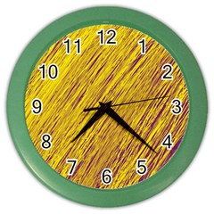 Yellow Van Gogh Pattern Color Wall Clocks by Valentinaart