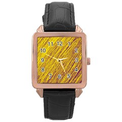 Yellow Van Gogh Pattern Rose Gold Leather Watch  by Valentinaart