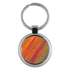 Orange Van Gogh Pattern Key Chains (round)  by Valentinaart