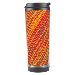 Orange Van Gogh Pattern Travel Tumbler by Valentinaart
