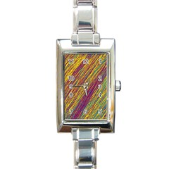 Yellow, Purple And Green Van Gogh Pattern Rectangle Italian Charm Watch by Valentinaart