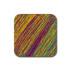 Yellow, Purple And Green Van Gogh Pattern Rubber Square Coaster (4 Pack)  by Valentinaart