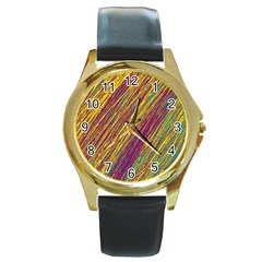 Yellow, Purple And Green Van Gogh Pattern Round Gold Metal Watch by Valentinaart