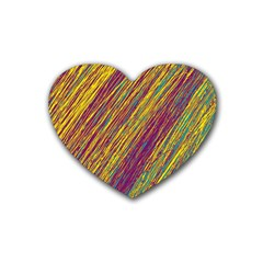 Yellow, Purple And Green Van Gogh Pattern Rubber Coaster (heart)  by Valentinaart