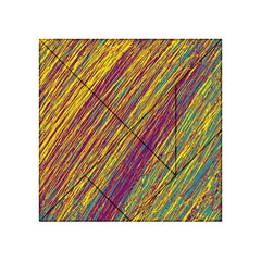 Yellow, Purple And Green Van Gogh Pattern Acrylic Tangram Puzzle (4  X 4 ) by Valentinaart