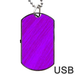 Purple Pattern Dog Tag Usb Flash (one Side) by Valentinaart