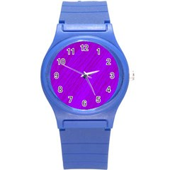 Purple Pattern Round Plastic Sport Watch (s) by Valentinaart